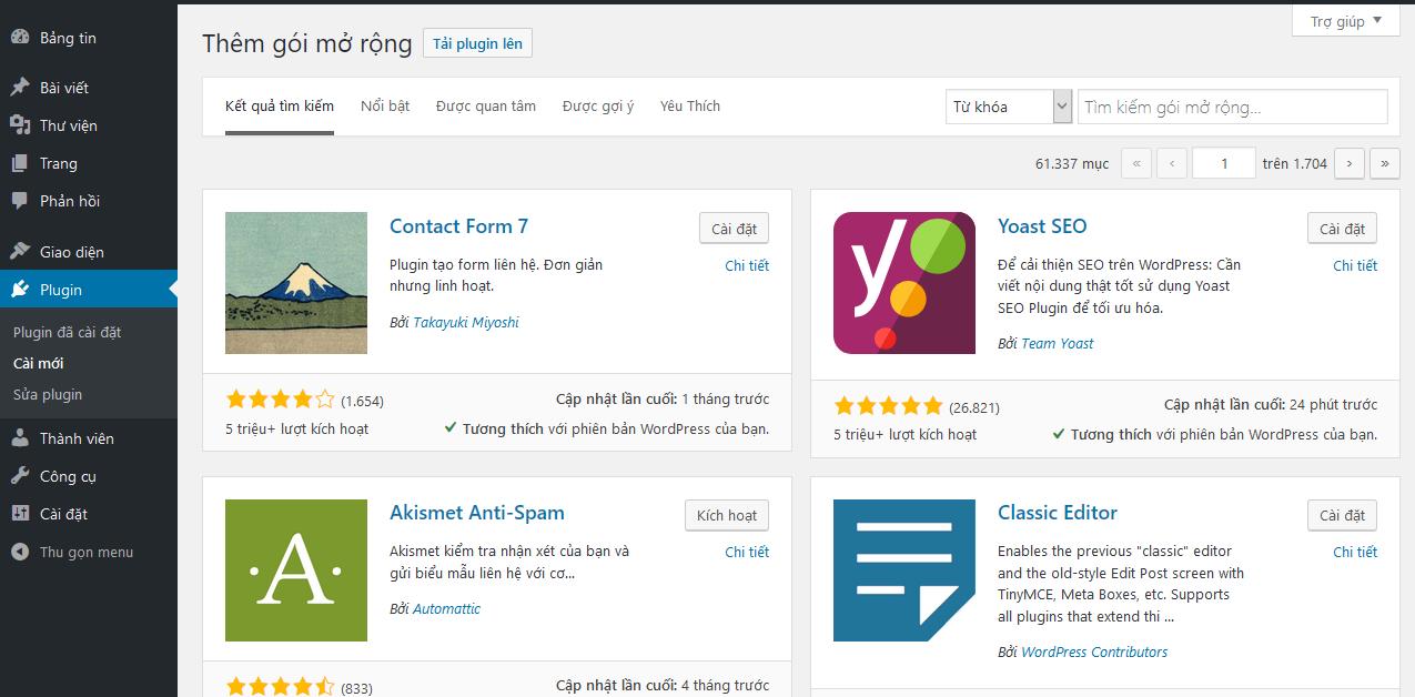 Quản trị Tính năng Plugin Website